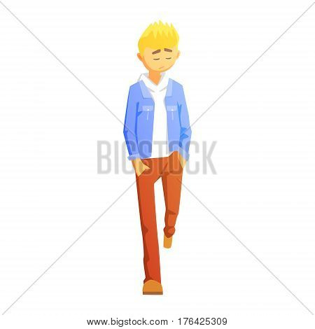 Sad Guy In Brown Pants And Jean Jacket, Young Person Street Fashion Look With Mass Market Clothes. Stylish Teenager Every Day Personal Style Clothing Illustration