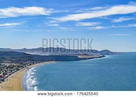 Aerial landscape scene from coastline at Rada Tilly a vacation spot located in Chubut Argentina.