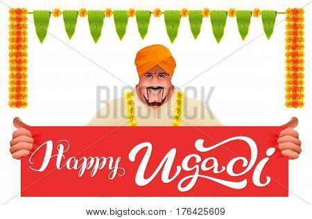 Hindu man holds banner happy ugadi. Isolated on white vector illustration