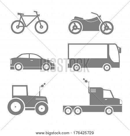 Transport icon set. Bicycle motorcycle car bus tractor truck