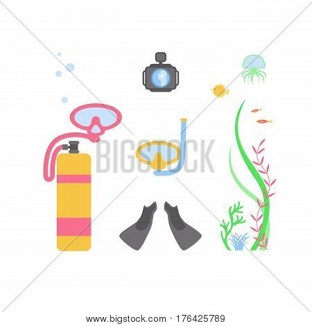 Symbols flat design icons set. Vector infographics sports equipment for deep-sea diving elements. Cylinder with air for breathing, tube, mask, fins