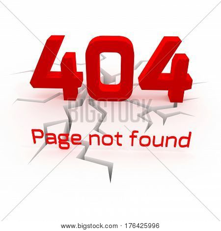 Error 404. Page not found. Creative 3D illustration on white background.