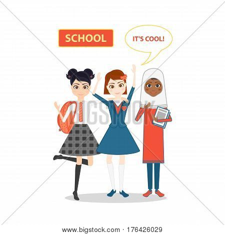 Schoolgirl character. Cartoon vector flat illustration. Girls friend pupil in school uniforms of different countries. Muslim girl in hijab, a student in a traditional school uniform.