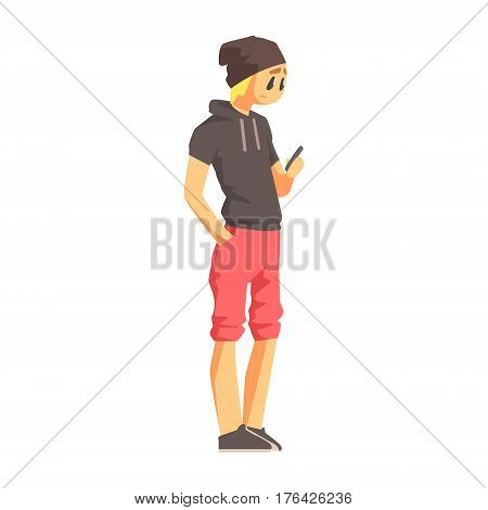 Guy With Smartphone In Short-Sleeve Hoodie, Young Person Street Fashion Look With Mass Market Clothes. Stylish Teenager Every Day Personal Style Clothing Illustration