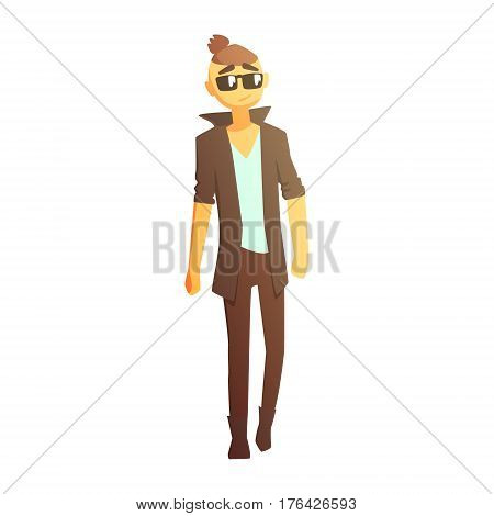 Guy With Shaved Temlpes In Boots And Dark Coat, Young Person Street Fashion Look With Mass Market Clothes. Stylish Teenager Every Day Personal Style Clothing Illustration