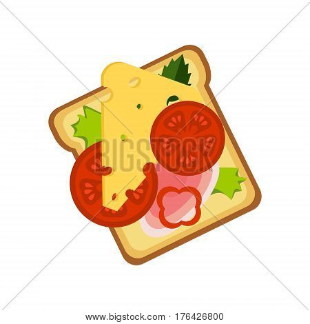 Toast With Cheese, Ham And Vegetables, Street Fast Food Cafe Menu Item Colorful Vector Icon. Isolated Eatable Object For Snack Lunch Representing Unhealthy Eating Habits.