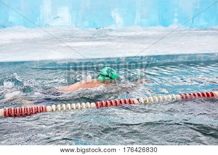 Sahyurta, Irkutsk Region, Russia - March 11.2017: Cup Of Baikal. Winter Swimming Competitions. Breas