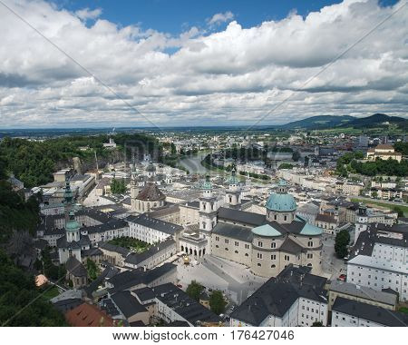 Panoramic view on St. Peter's Abbey and the old town of Salzburg from the Hohensalzburg fortress Austria