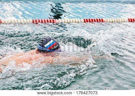 Sahyurta, Irkutsk Region, Russia - March 11.2017: Cup Of Baikal. Winter Swimming Competitions. Breas