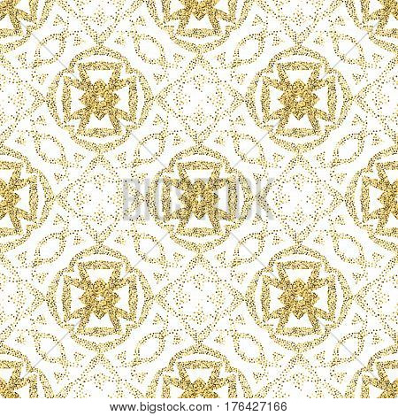 Seamless golden ethnic pattern of dots. A pockmarked background of geometric shapes and stylized plant elements.