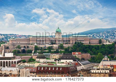 Budapest Royal Castle. Panorama of the city of Budapest with the palace. Hungary.