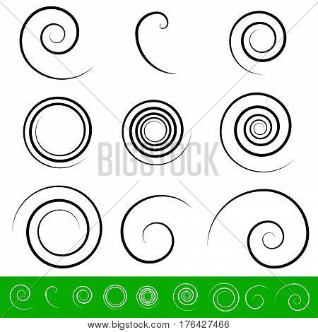 Spiral, Vortex Element Set. 9 Different Circular Shapes. Spiral Set.