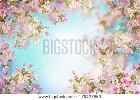 Vector background with spring cherry blossom. Sakura branch in springtime