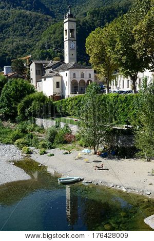 People  Sunbathing At The Beach Of Varallo Sesia Village, Italy