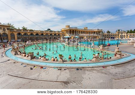 Budapest, Hungary. May 12, 2013: Szechenyi Baths in Budapest in Hungary on a sunny day. The biggest bath complex in Europe.