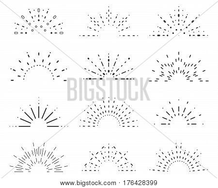 Radiant sunrise lineart icons design set template vector illustration
