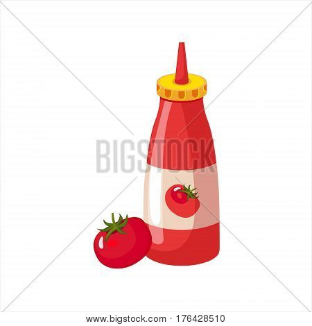 Bottle Of Ketchup And Fresh Tomato, Street Fast Food Cafe Menu Item Colorful Vector Icon. Isolated Eatable Object For Snack Lunch Representing Unhealthy Eating Habits.