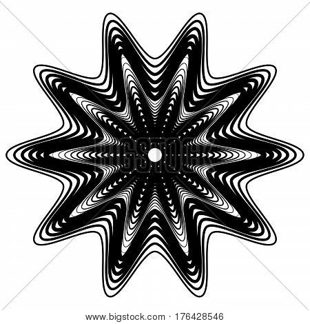 Abstract Geometric Element With Irregular Lines. Radial Distorted Shape