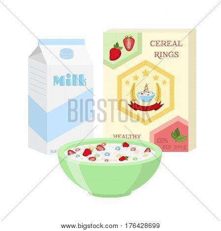Breakfast set - milk, cereal, berries. Healthy food in flat vector style.