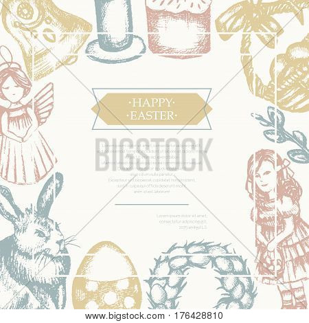 Happy Easter - color vector hand drawn composite flyer with copyspace. Realistic basket, egg, cake, angel, chaplet, rabbit, violet willow, girl, candle, bell, chicken.