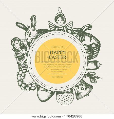 Happy Easter - monochromatic vector hand drawn round banner with copyspace. Realistic basket, egg, cake, angel, chaplet, rabbit, violet willow, girl, candle, bell, chicken.