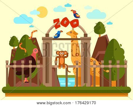 Colourful view of the zoo entrance with animals and beautiful landscape. Flat vector banner, simple design. Park exterior good for poster, booklet, wallpaper creation or children illustration.