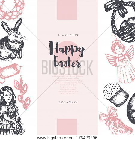 Happy Easter - three piece color vector hand drawn square template card with copyspace. Realistic basket, egg, cake, angel, chaplet, rabbit, violet willow, girl, candle, bell, chicken.