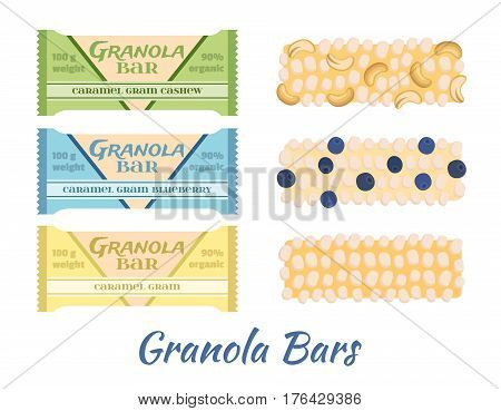 Granola bars. Caramel with grain, berries, nuts. Protein sport bars. Flat vector style.