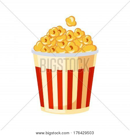 Bucket Of Popcorn For Cinema, Street Fast Food Cafe Menu Item Colorful Vector Icon. Isolated Eatable Object For Snack Lunch Representing Unhealthy Eating Habits.