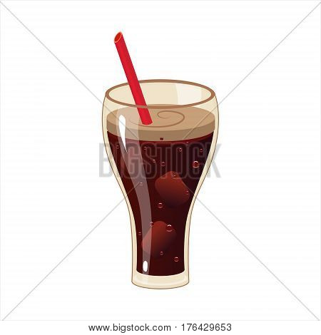 Glass With Soft Soda Drink And A Straw, Street Fast Food Cafe Menu Item Colorful Vector Icon. Isolated Eatable Object For Snack Lunch Representing Unhealthy Eating Habits.