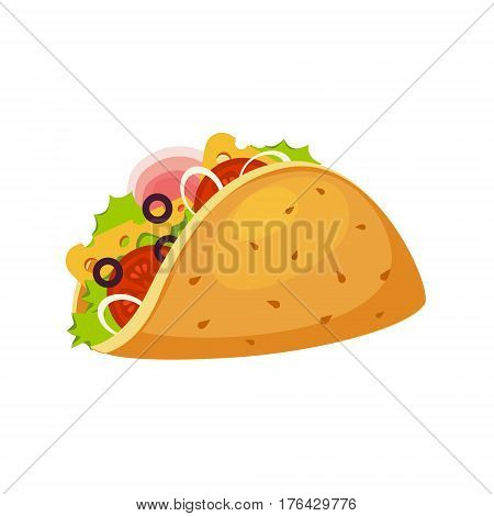 Taco Wrap With Tortilla, Ham And Vegetables, Street Fast Food Cafe Menu Item Colorful Vector Icon. Isolated Eatable Object For Snack Lunch Representing Unhealthy Eating Habits.