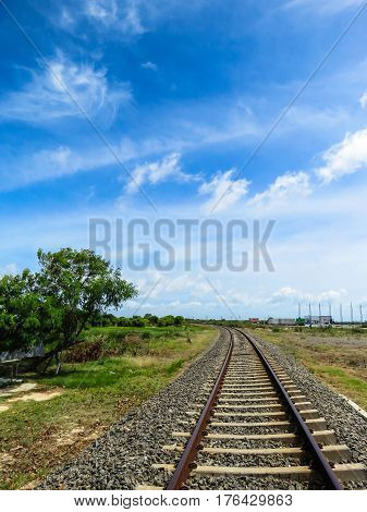 Infinity Gravel Train Road Railway Track with Blue Sky and Greenery