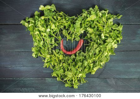 A heart shaped wreath of cilantro leaves with a red hot chili pepper inside, shot from above on a dark wooden background texture with a place for text