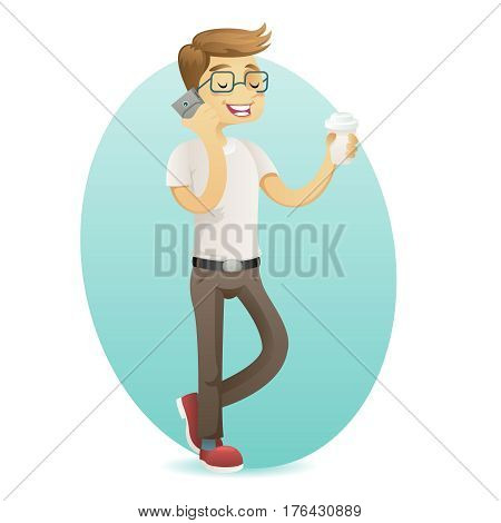 Smiling geek happy hipster smartphone hold coffee in hand cartoon design vector illustration