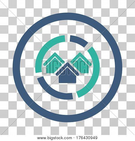 Realty Diagram icon. Vector illustration style is flat iconic bicolor symbol cobalt and cyan colors transparent background. Designed for web and software interfaces.