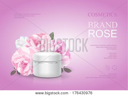 Rose moisturizing cream template, skin care ads. Pink beauty cosmetic product poster vector illustration.