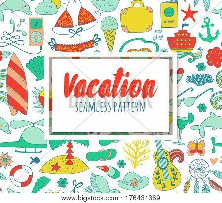 Summer vacation set doodle elements, seamless pattern. Travel drawing drawing. Vacation design vector illustration.