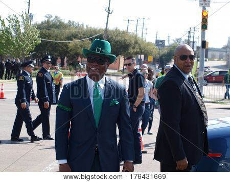 Dallas,USA,15 March 2017. Former Police Chief David Brown, served as Grand Marshal at the annual St. Patricks Parade in Dallas, March 11,2017