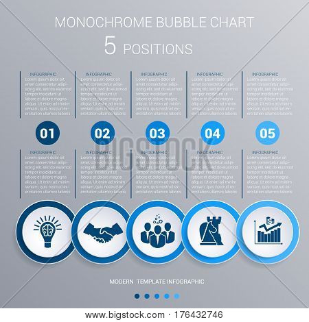 Infographics template for 5 steps. Monochrome Blue bubbles chart elements for visualization business processes.