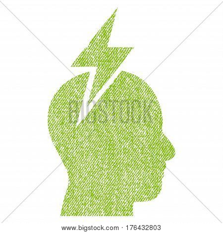 Headache vector textured icon for overlay watermark stamps. Fabric light green vectorized texture. Symbol with scratched design. Rubber seal stamp with fiber textile structure.