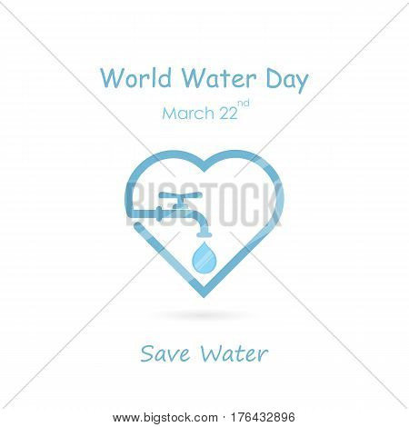 Water drop and water tap icon with heart shape vector logo design template.World Water Day icon.World Water Day idea campaign concept for greeting card and poster.Vector illustration