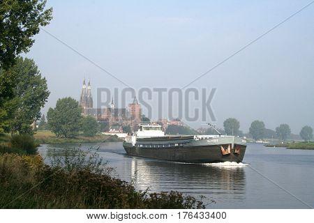 Netherlands Cuijk july 2016: Transportation over the river Maas