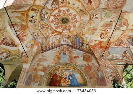 Varallo, Italy - 6 September 2015: Frescos of the Madonna di Loreto church at Varallo on Piedmont Italy