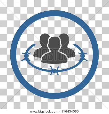 Concentration Camp icon. Vector illustration style is flat iconic bicolor symbol cobalt and gray colors transparent background. Designed for web and software interfaces.
