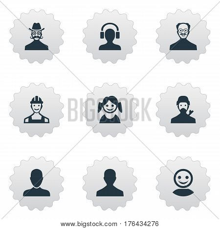Vector Illustration Set Of Simple Avatar Icons. Elements Job Man, Moustache Man, Mysterious Man And Other Synonyms Engineer, Girl And Man.