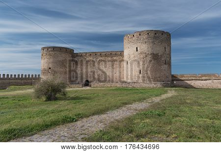 View at the ancient fortress in summer. Bilhorod-Dnistrovskyi fortress