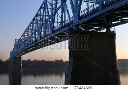 OWENSBORO, KY - MAY 2016: The Blue Bridge spans the Ohio River between Kentucky and Indiana.