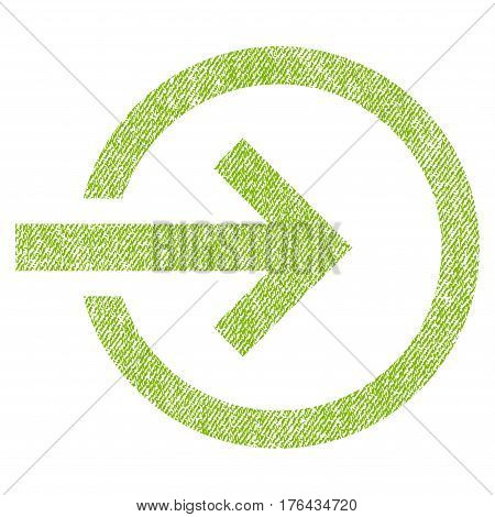 Import vector textured icon for overlay watermark stamps. Fabric light green vectorized texture. Symbol with dust design. Rubber seal stamp with fiber textile structure.