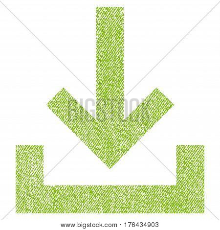 Inbox vector textured icon for overlay watermark stamps. Fabric light green vectorized texture. Symbol with unclean design. Rubber seal stamp with fiber textile structure.