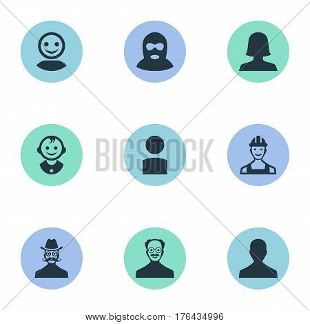 Vector Illustration Set Of Simple Avatar Icons. Elements Woman User, Moustache Man, Insider And Other Synonyms Culprit, Man And Worker.